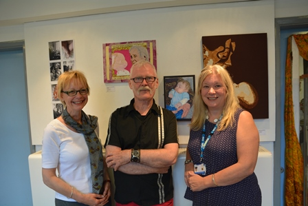 Professor Karen Norman, Peter Herbert and Caroline Harris-Birtles at The Art of Caring exhibition