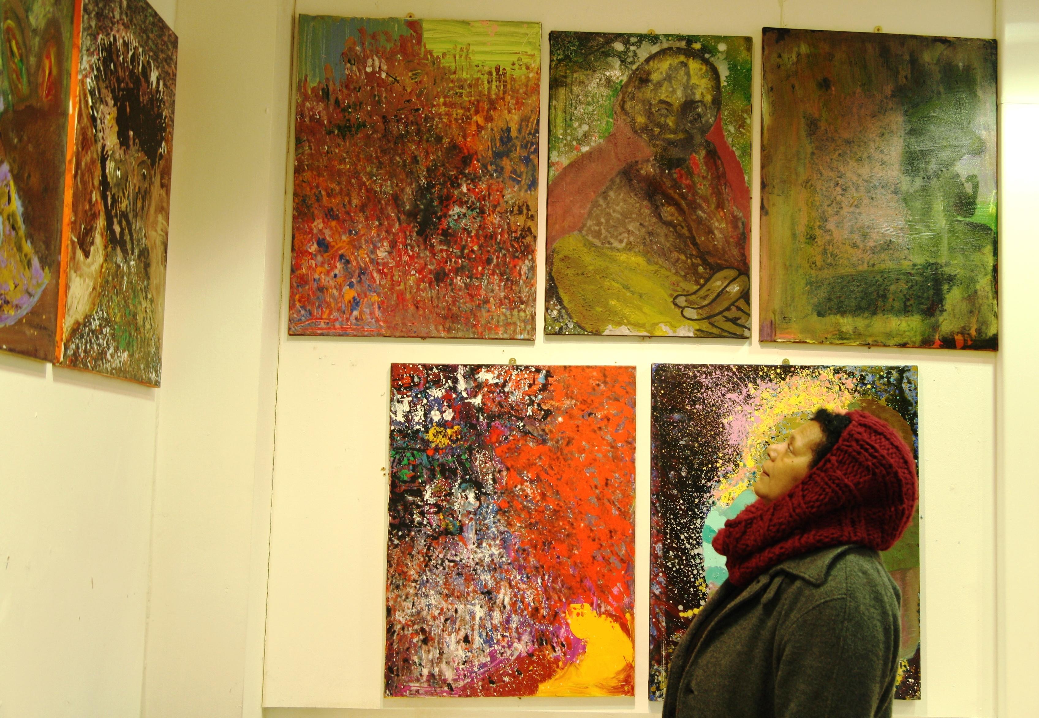 Sybil Adelaja with artwork