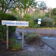 Road sign which reads 3 Daleham Gardens